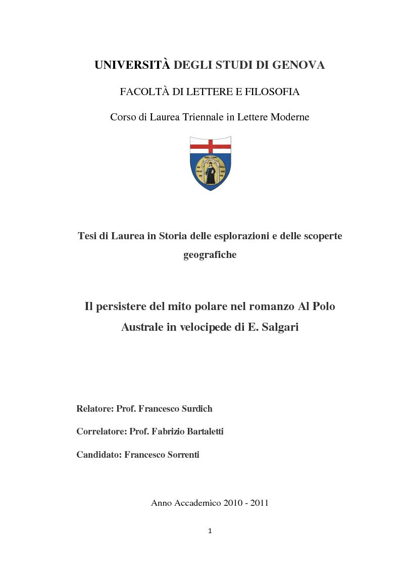Anteprima della tesi: Il persistere del mito polare nel romanzo ''Al Polo Australe in velocipede'' di E. Salgari, Pagina 1