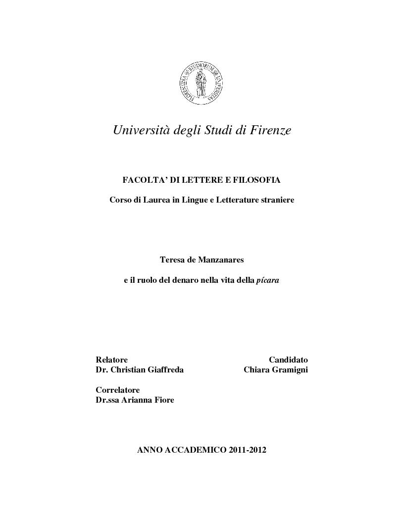 Anteprima della tesi: Teresa de Manzanares e il ruolo del denaro nella vita della pícara , Pagina 1