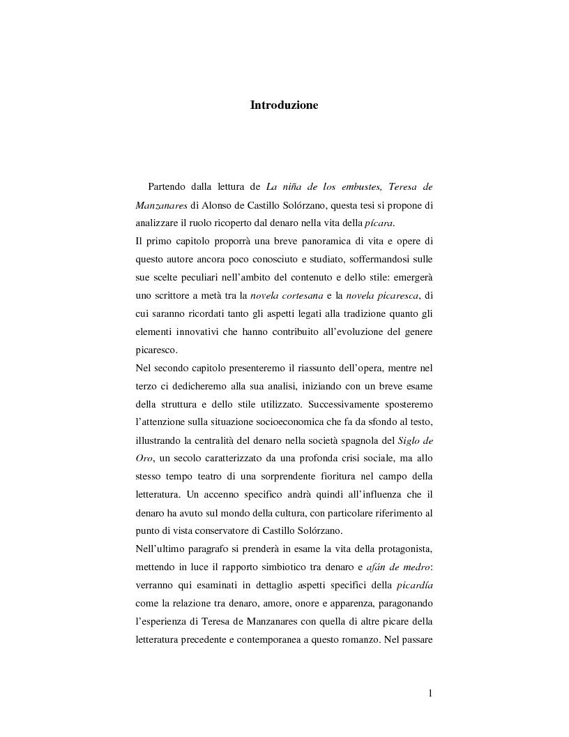Teresa de Manzanares e il ruolo del denaro nella vita della p�cara  - Tesi di Laurea