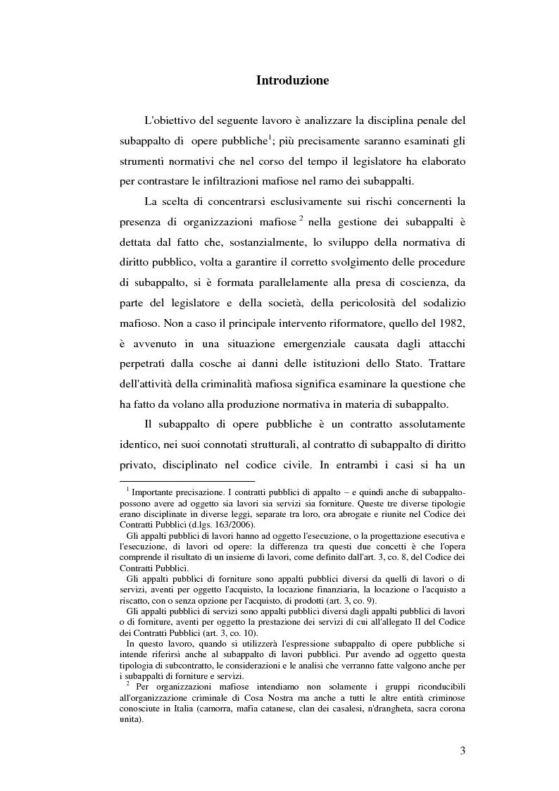 Anteprima della tesi: Subappalto e mafia: analisi della disciplina a tutela dei subcontratti dalle infiltrazioni mafiose., Pagina 2