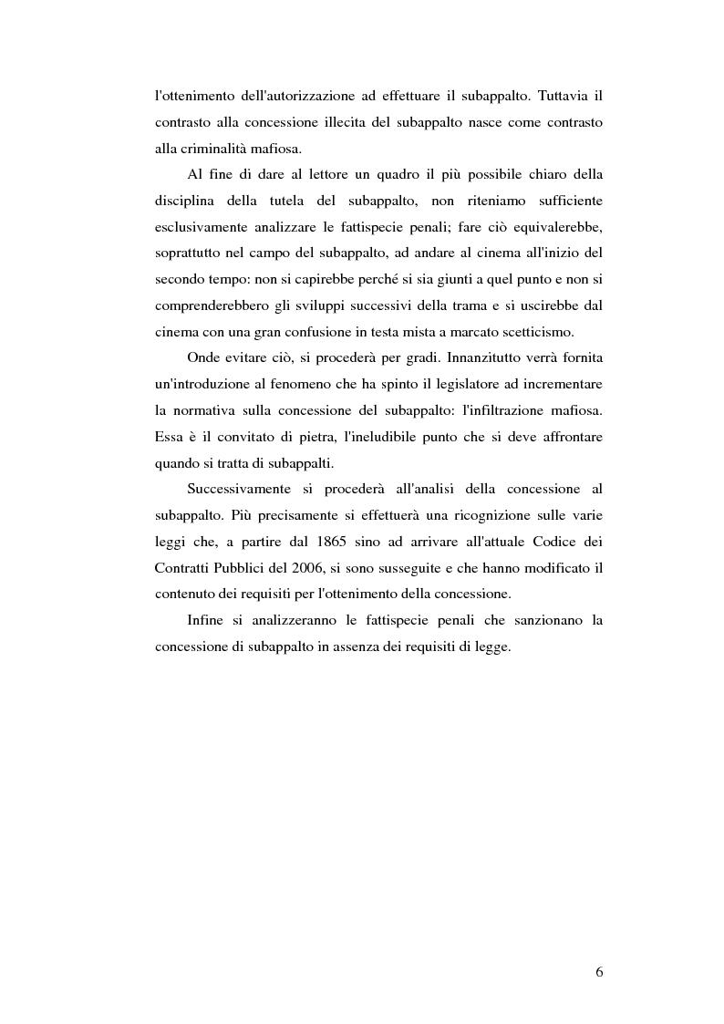 Anteprima della tesi: Subappalto e mafia: analisi della disciplina a tutela dei subcontratti dalle infiltrazioni mafiose., Pagina 5