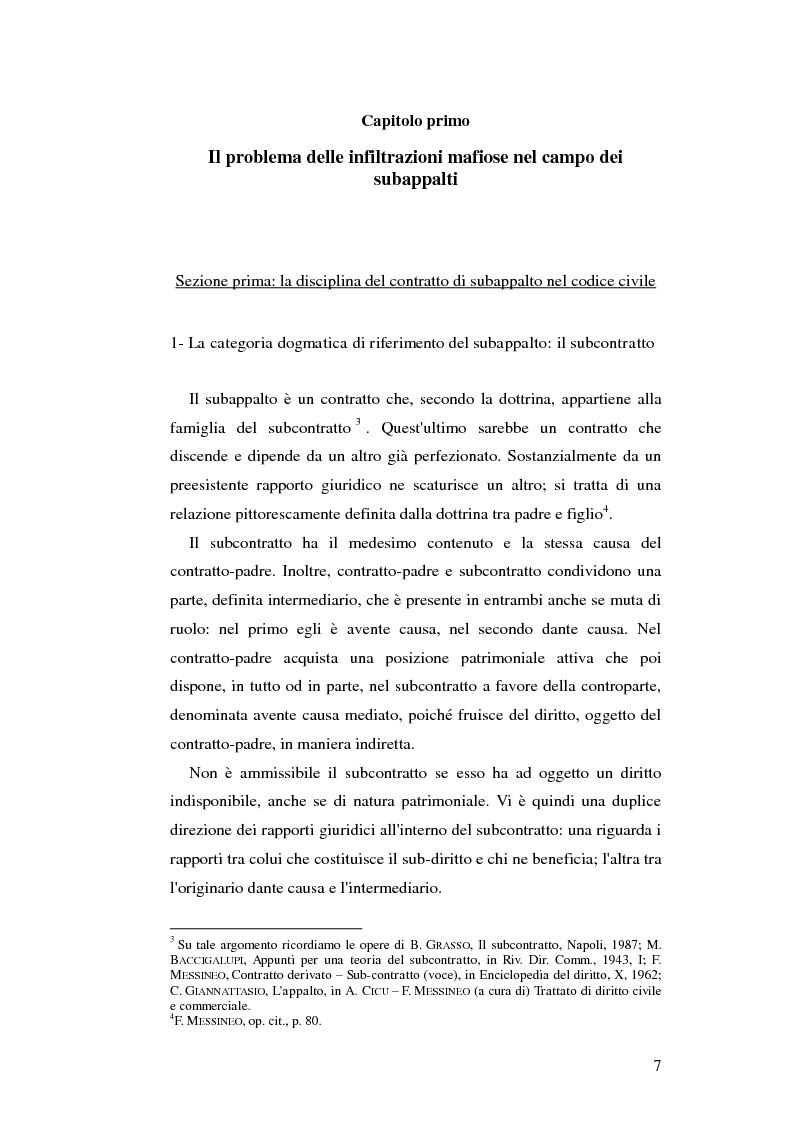 Anteprima della tesi: Subappalto e mafia: analisi della disciplina a tutela dei subcontratti dalle infiltrazioni mafiose., Pagina 6