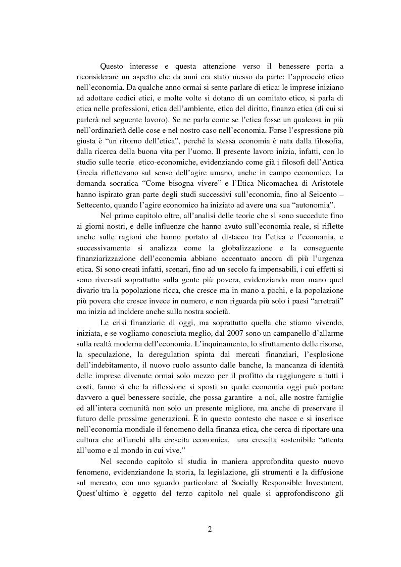 Anteprima della tesi: La Finanza Etica. Il Caso Etica Sgr e il Rating Etico: Sabaf S.P.A., Pagina 3
