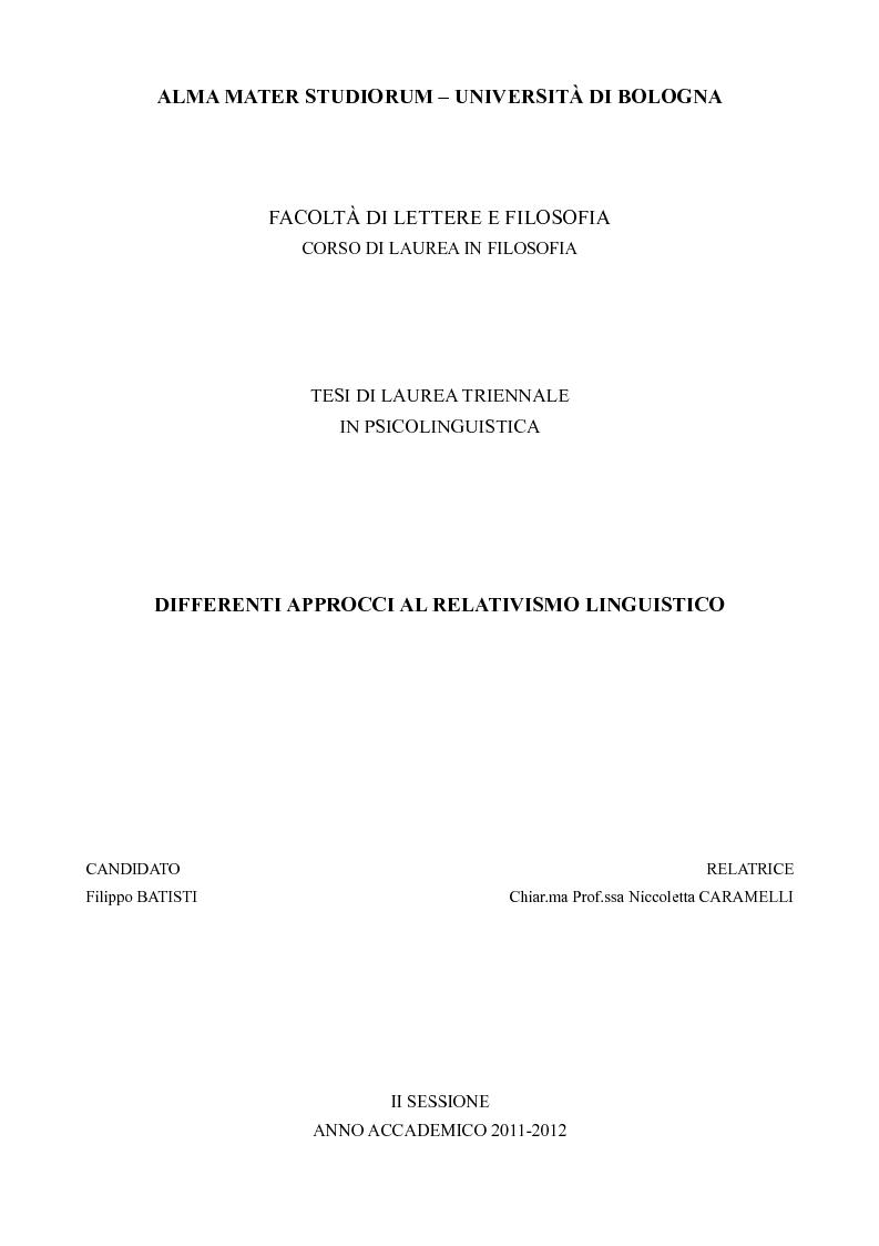Anteprima della tesi: Differenti approcci al Relativismo Linguistico, Pagina 1