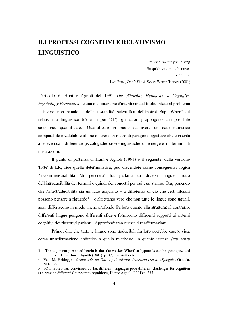 Anteprima della tesi: Differenti approcci al Relativismo Linguistico, Pagina 5