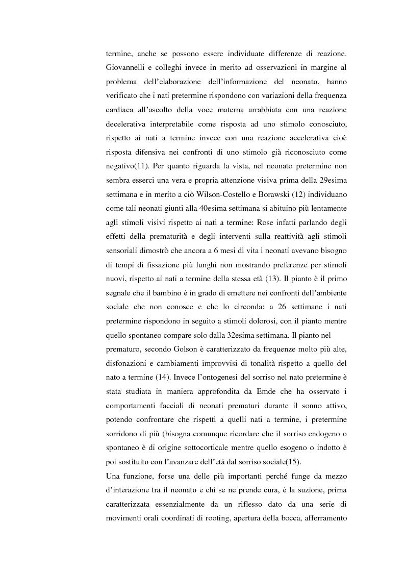 Anteprima della tesi: Studio delle sindromi neurocomportamentali e delle asimmetrie posturali nel prematuro. Valutazione neuropsicomotoria e trattamento riabilitativo, Pagina 6