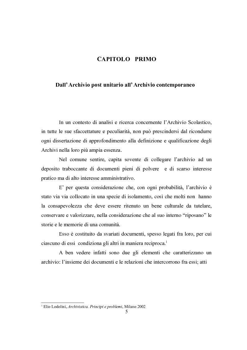 Anteprima della tesi: L'Archivio Scolastico. Un caso particolare: la Scuola Media Statale ''Michele Cipolla'', Pagina 2