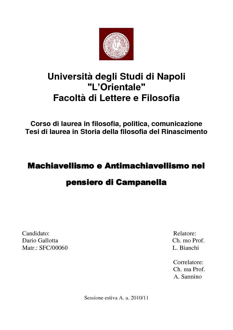 Anteprima della tesi: Machiavellismo e antimachiavellismo nel pensiero di Campanella, Pagina 1