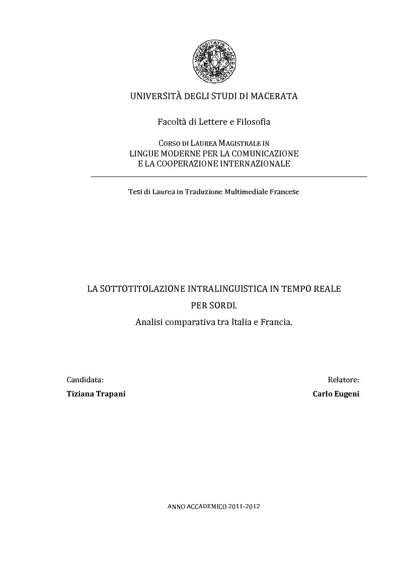 Anteprima della tesi: La sottotitolazione intralinguistica in tempo reale per sordi. Analisi comparativa tra Italia e Francia., Pagina 1