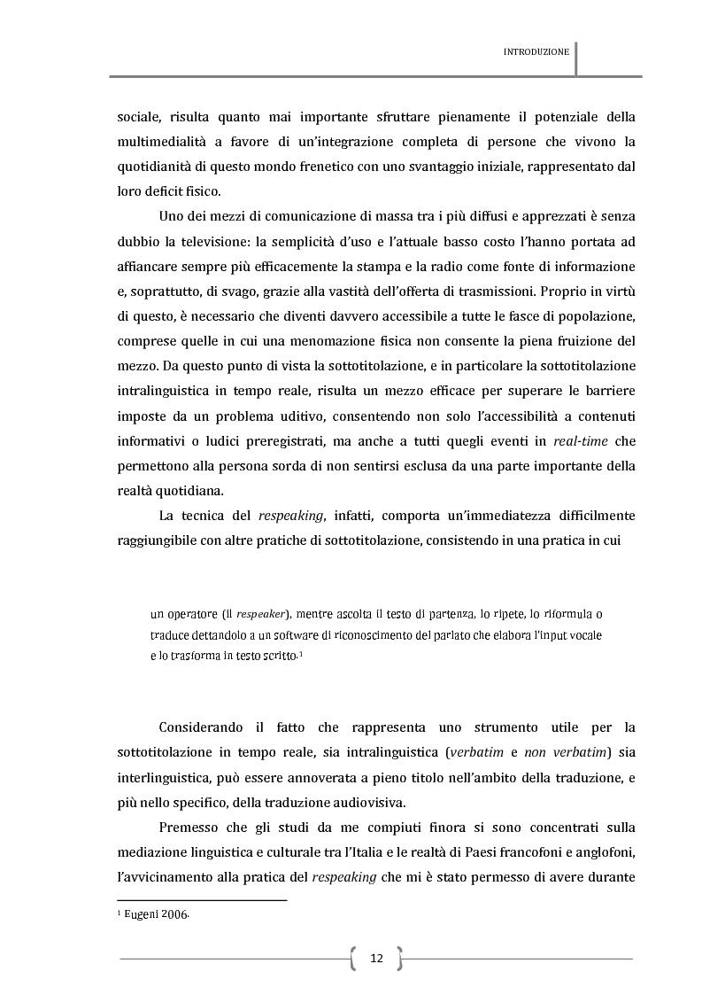 Anteprima della tesi: La sottotitolazione intralinguistica in tempo reale per sordi. Analisi comparativa tra Italia e Francia., Pagina 3