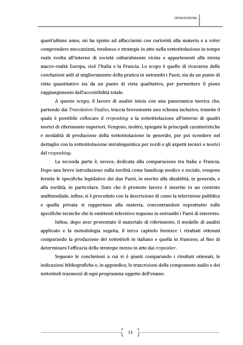 Anteprima della tesi: La sottotitolazione intralinguistica in tempo reale per sordi. Analisi comparativa tra Italia e Francia., Pagina 4