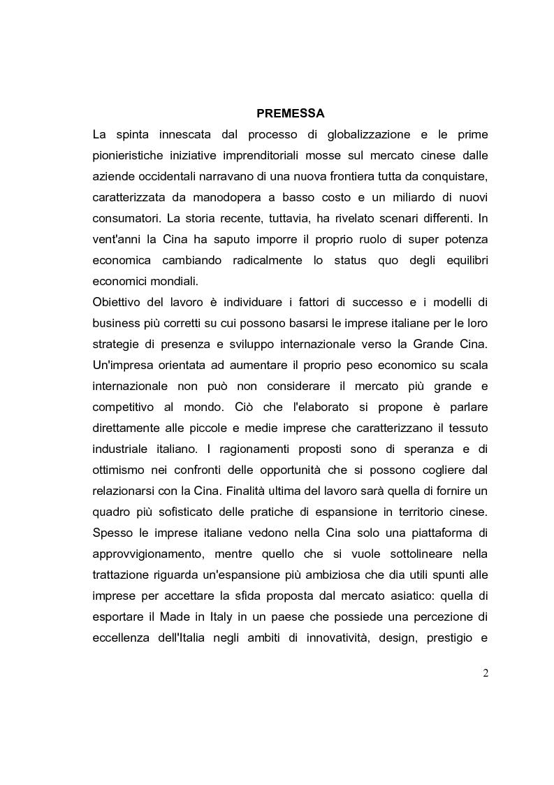 Anteprima della tesi: La competizione cinese: modalità di ingresso e strategie di crescita per le PMI italiane nel paese del dragone. Alcune esperienze del Made in Italy, Pagina 2