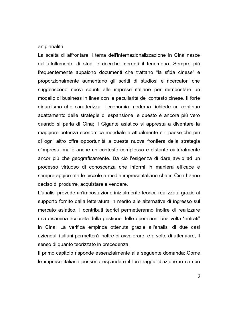 Anteprima della tesi: La competizione cinese: modalità di ingresso e strategie di crescita per le PMI italiane nel paese del dragone. Alcune esperienze del Made in Italy, Pagina 3