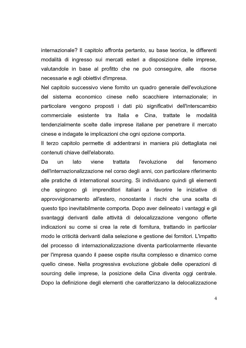 Anteprima della tesi: La competizione cinese: modalità di ingresso e strategie di crescita per le PMI italiane nel paese del dragone. Alcune esperienze del Made in Italy, Pagina 4