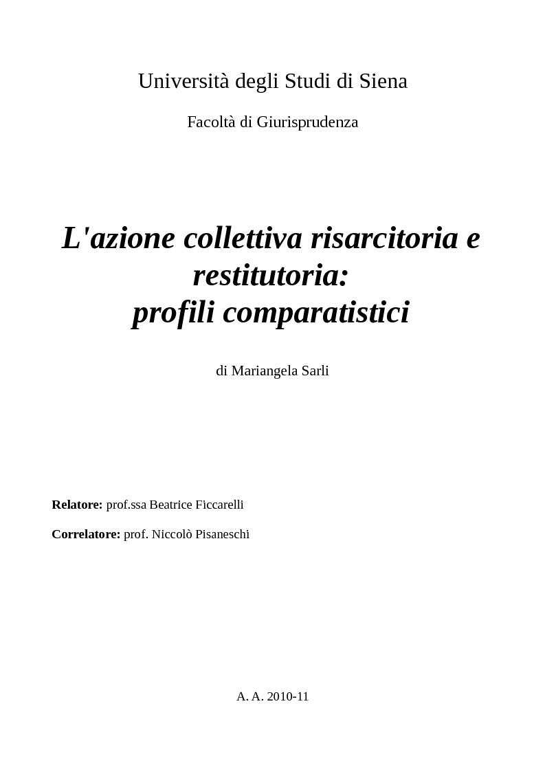 Anteprima della tesi: L'azione collettiva risarcitoria e restitutoria: profili comparatistici, Pagina 1
