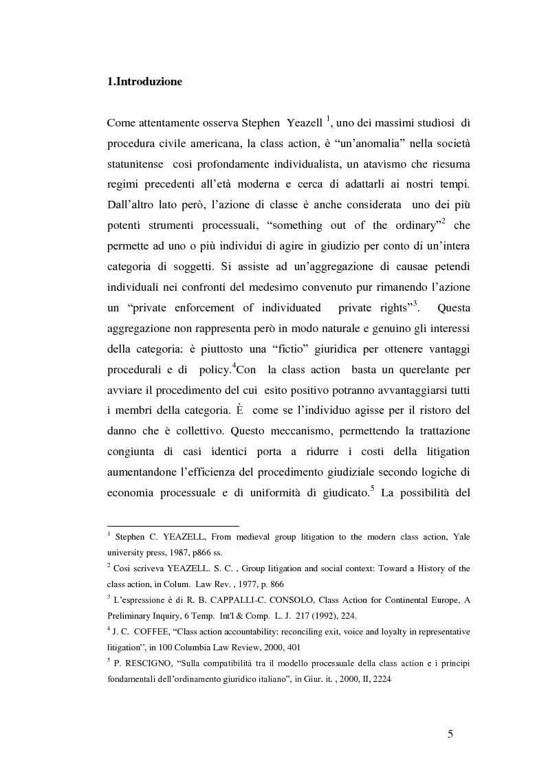 Anteprima della tesi: L'azione collettiva risarcitoria e restitutoria: profili comparatistici, Pagina 2