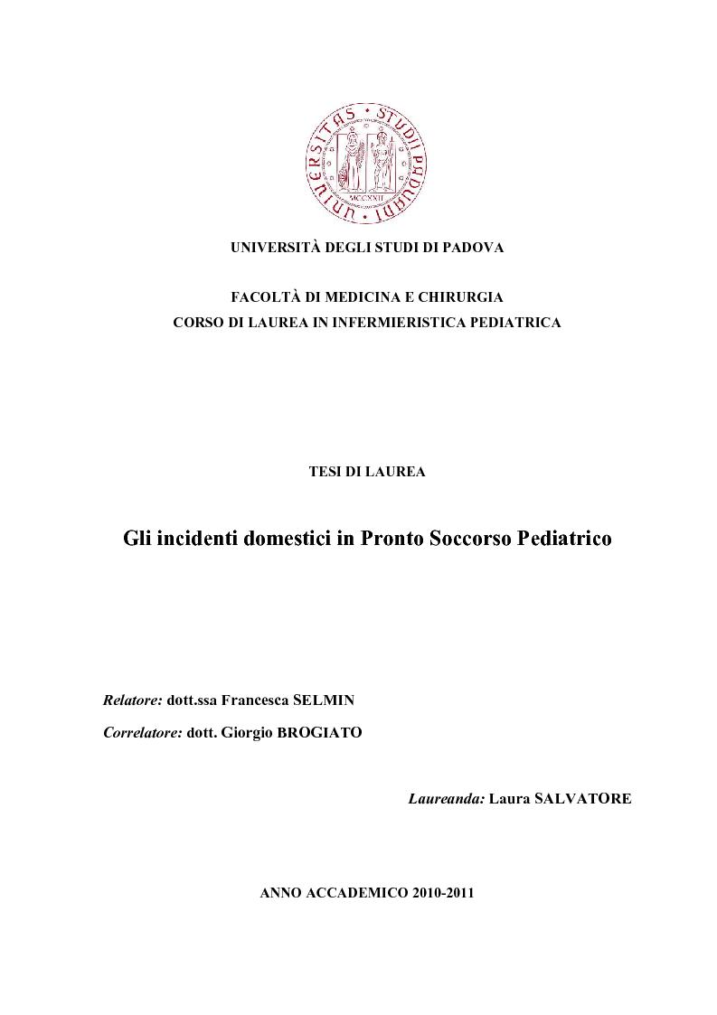 Anteprima della tesi: Gli incidenti domestici in Pronto Soccorso Pediatrico, Pagina 1