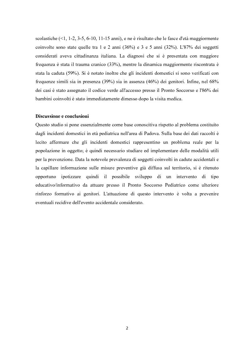 Anteprima della tesi: Gli incidenti domestici in Pronto Soccorso Pediatrico, Pagina 3
