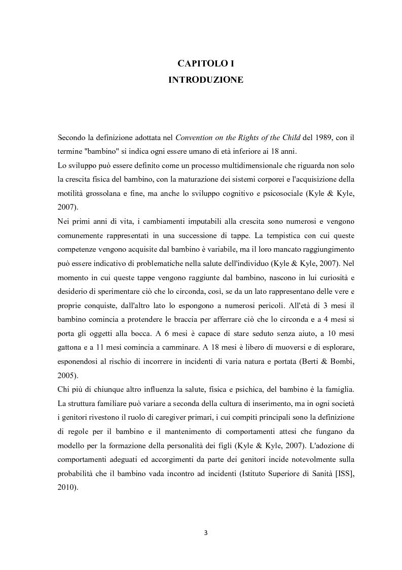 Anteprima della tesi: Gli incidenti domestici in Pronto Soccorso Pediatrico, Pagina 4
