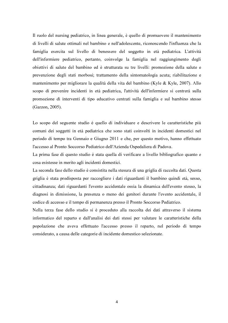 Anteprima della tesi: Gli incidenti domestici in Pronto Soccorso Pediatrico, Pagina 5