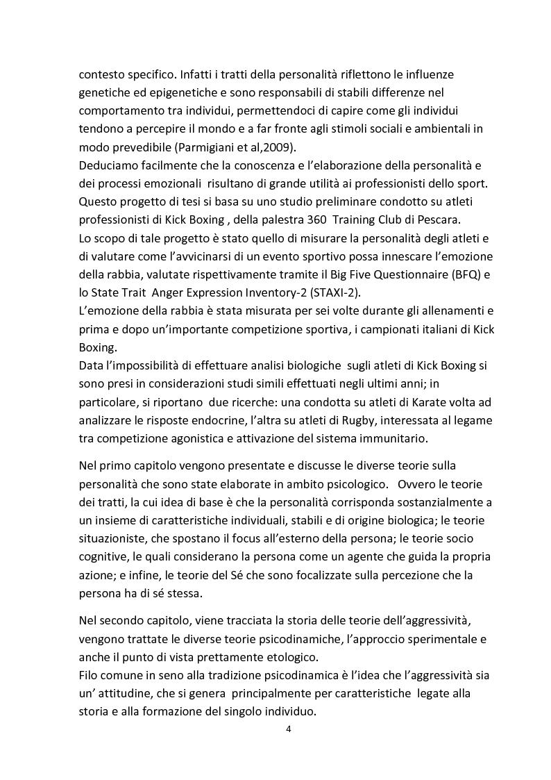 Anteprima della tesi: Personalità e aggressività nella prestazione sportiva: uno studio sperimentale, Pagina 3