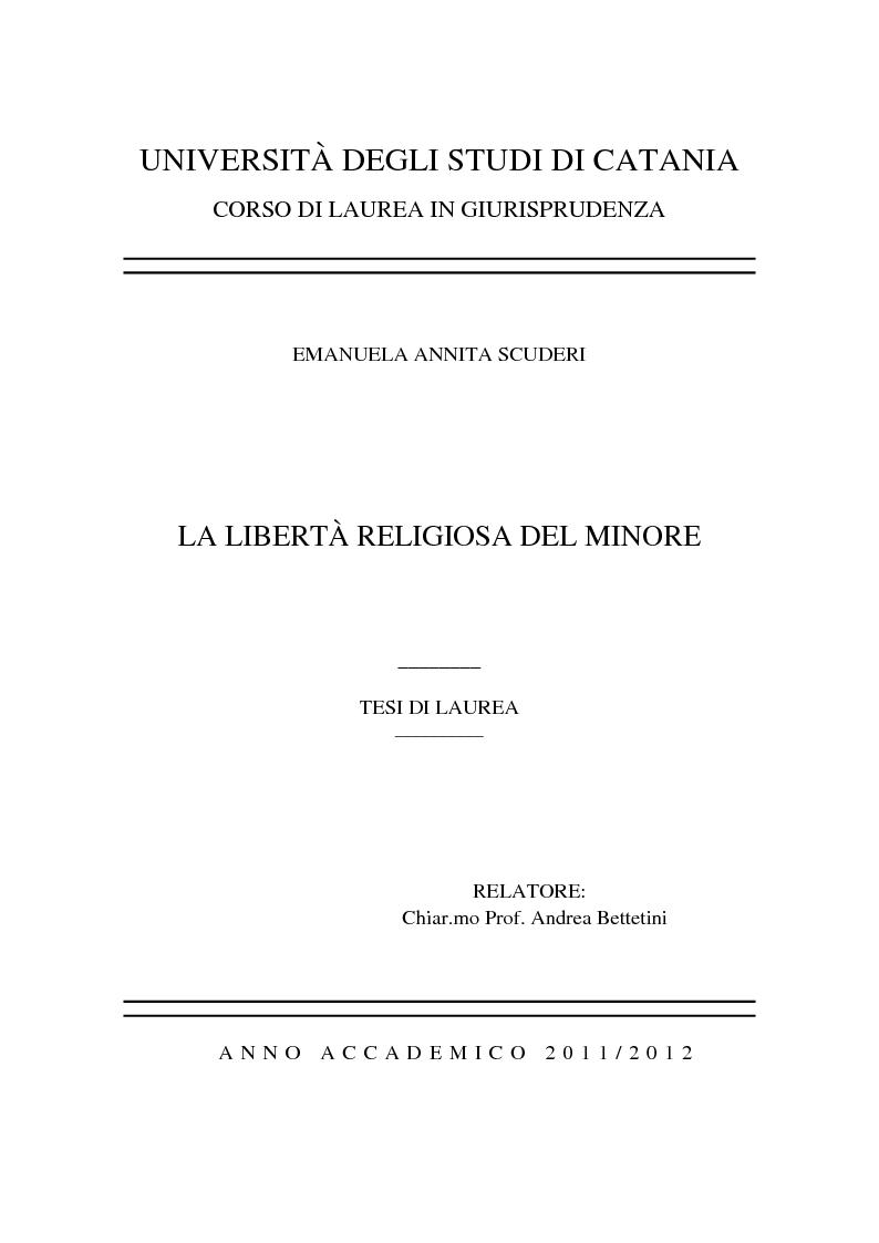 Anteprima della tesi: La libertà religiosa del minore, Pagina 1