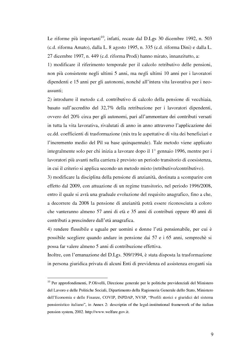 Anteprima della tesi: I Fondi Pensione: profili legislativi e prospettive di mercato, Pagina 10