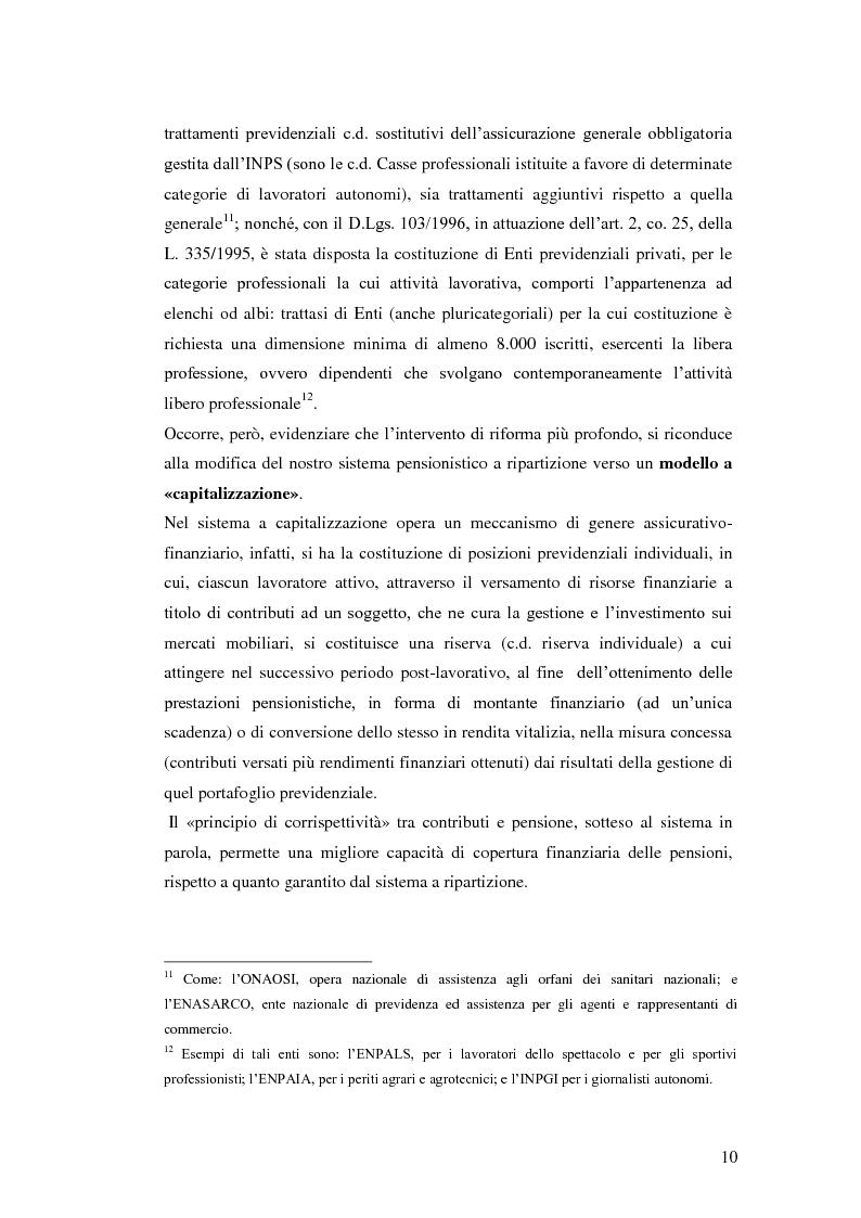 Anteprima della tesi: I Fondi Pensione: profili legislativi e prospettive di mercato, Pagina 11