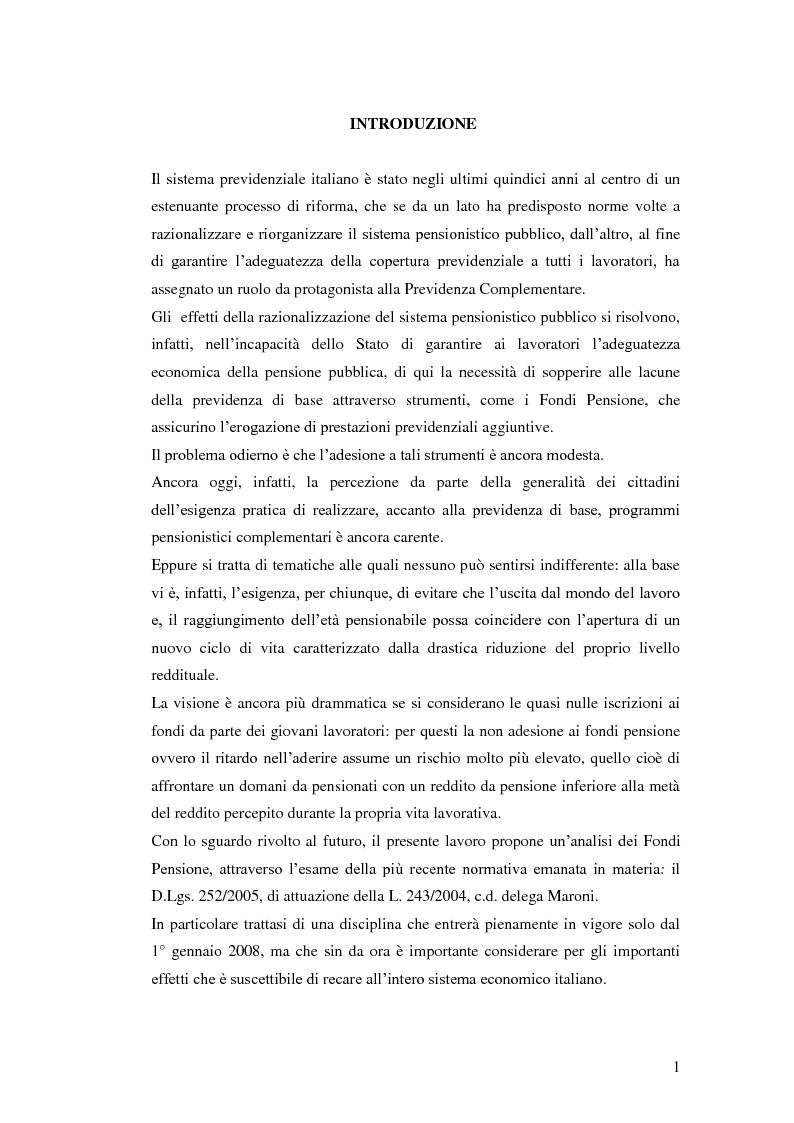 Anteprima della tesi: I Fondi Pensione: profili legislativi e prospettive di mercato, Pagina 2