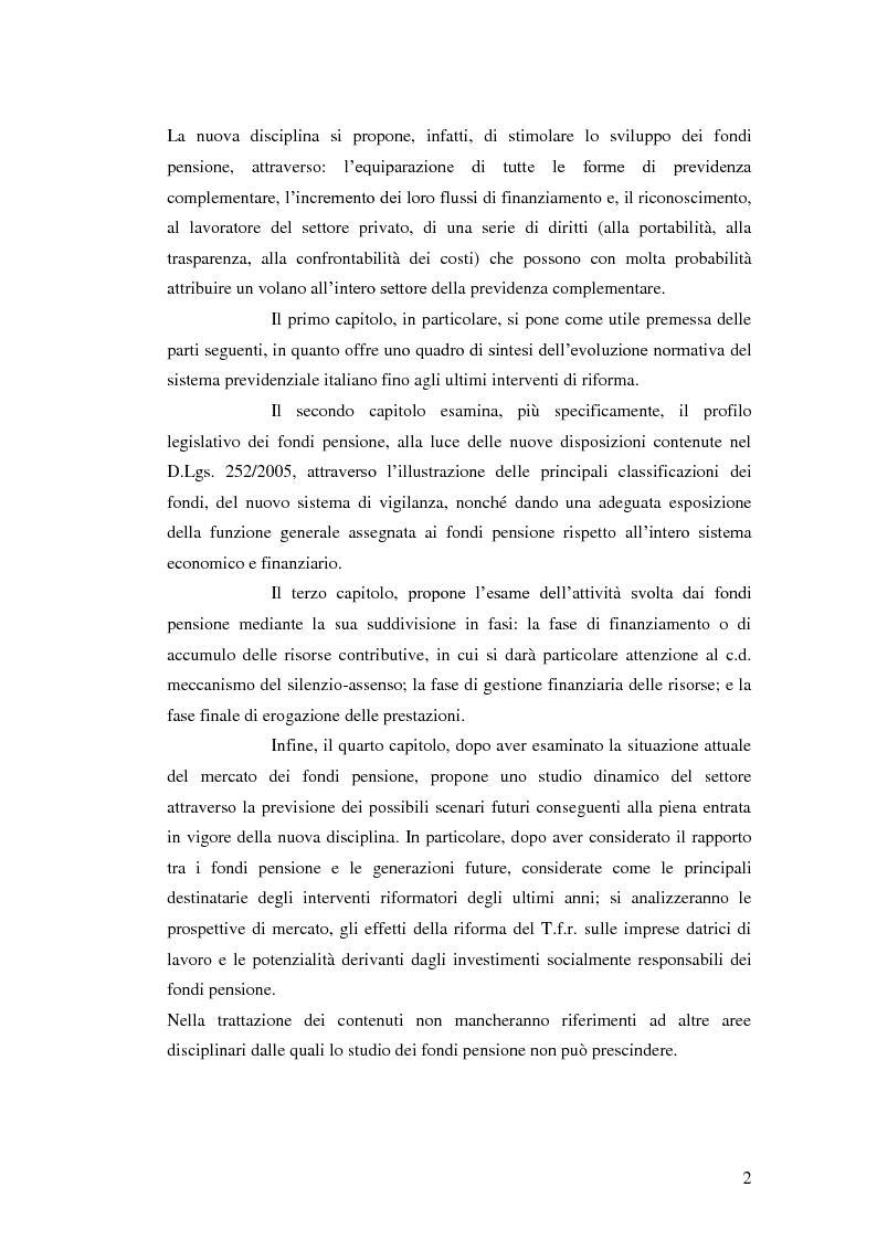 Anteprima della tesi: I Fondi Pensione: profili legislativi e prospettive di mercato, Pagina 3