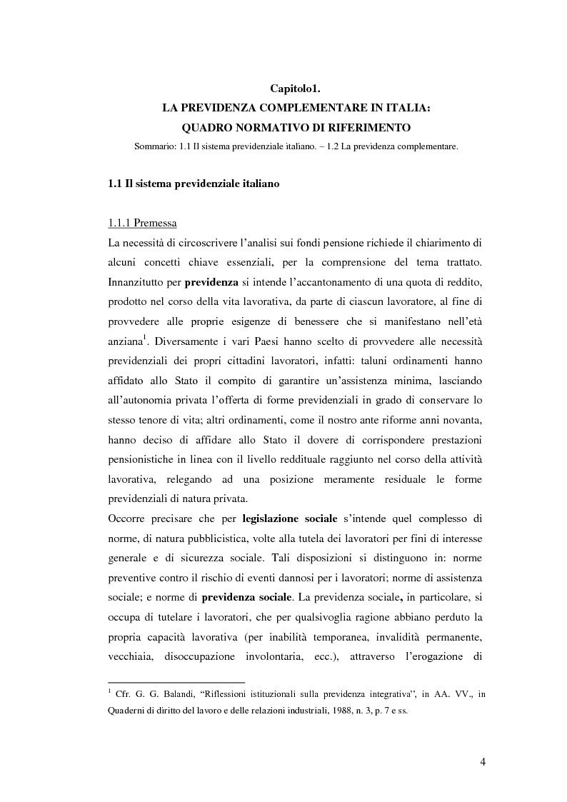 Anteprima della tesi: I Fondi Pensione: profili legislativi e prospettive di mercato, Pagina 5