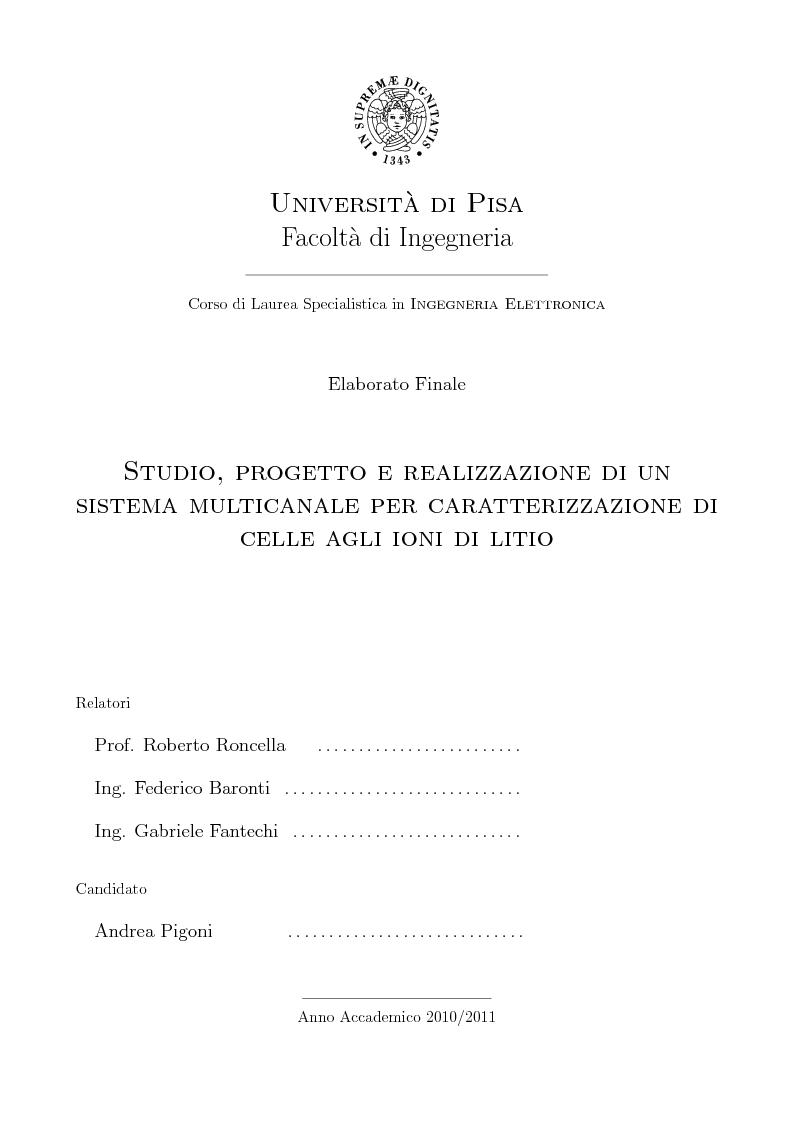 Anteprima della tesi: Studio, progetto e realizzazione di un sistema multicanale per caratterizzazione di celle agli ioni di litio, Pagina 1