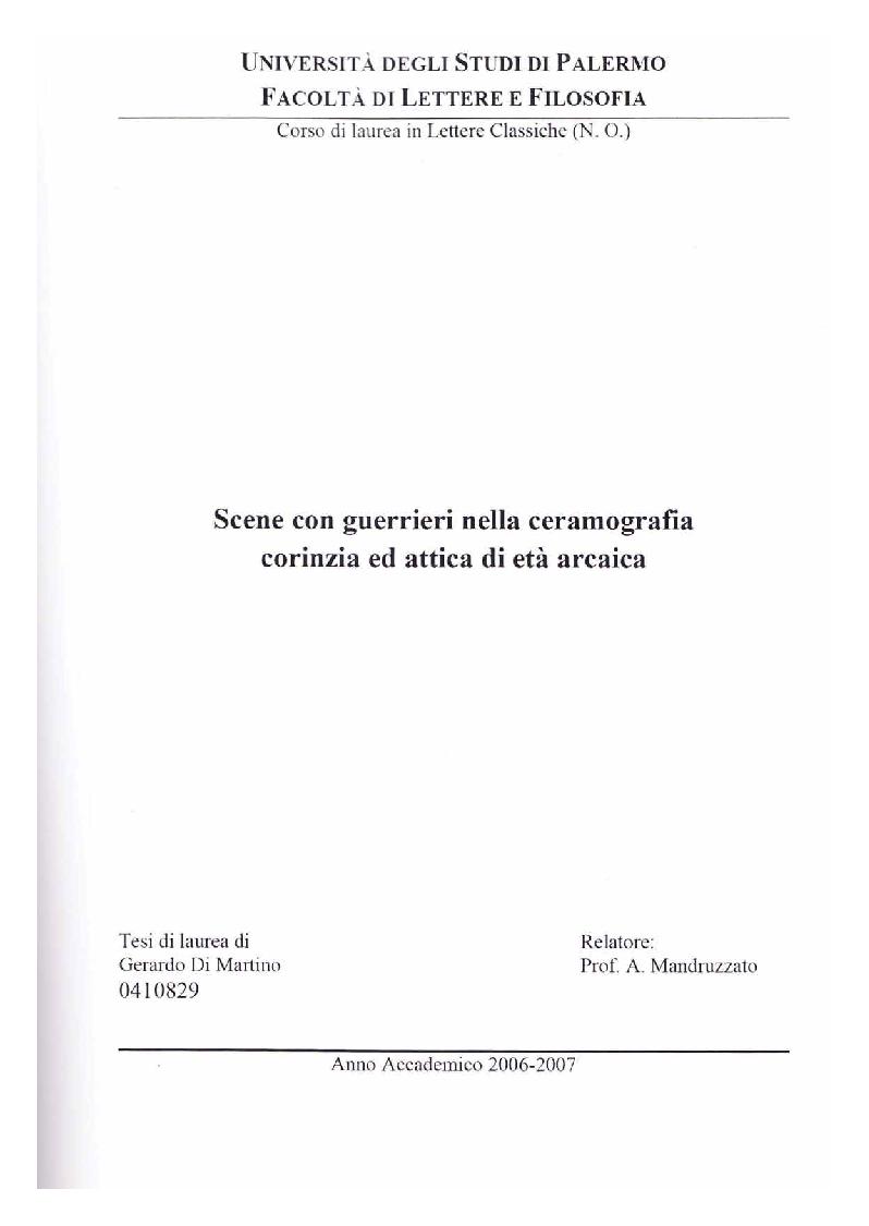 Anteprima della tesi: Scene con guerrieri nella ceramografia corinzia ed attica di età arcaica, Pagina 1