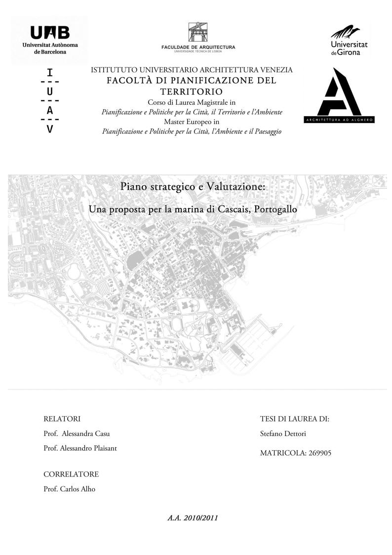Anteprima della tesi: Piano strategico e valutazione, una proposta per la marina di Cascais, Pagina 1