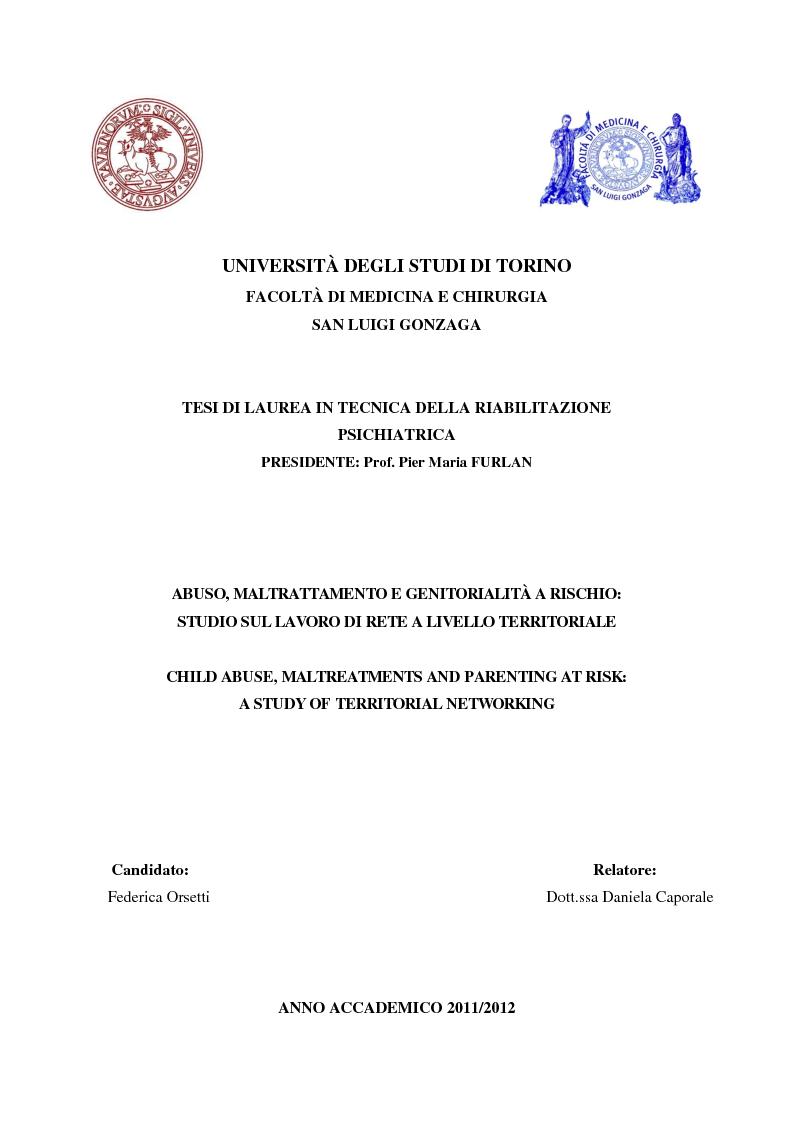 Anteprima della tesi: Abuso, maltrattamento e genitorialità a rischio: studio sul lavoro di rete a livello territoriale, Pagina 1