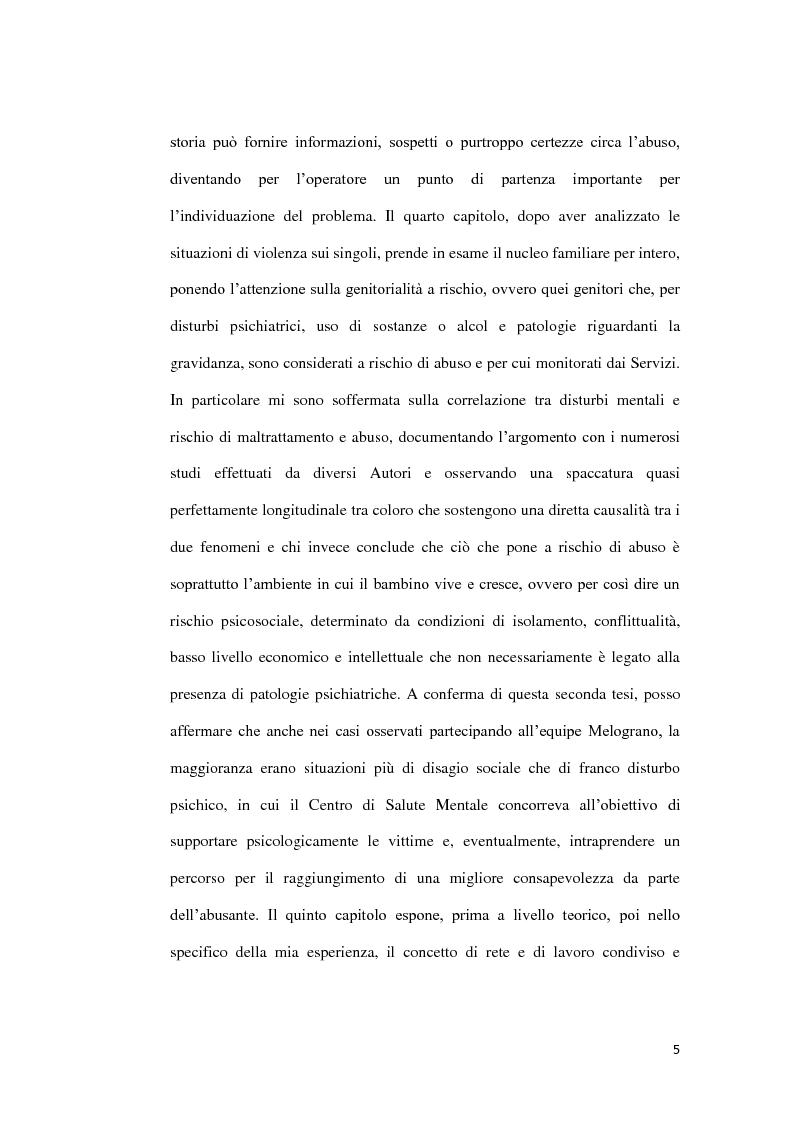 Anteprima della tesi: Abuso, maltrattamento e genitorialità a rischio: studio sul lavoro di rete a livello territoriale, Pagina 6