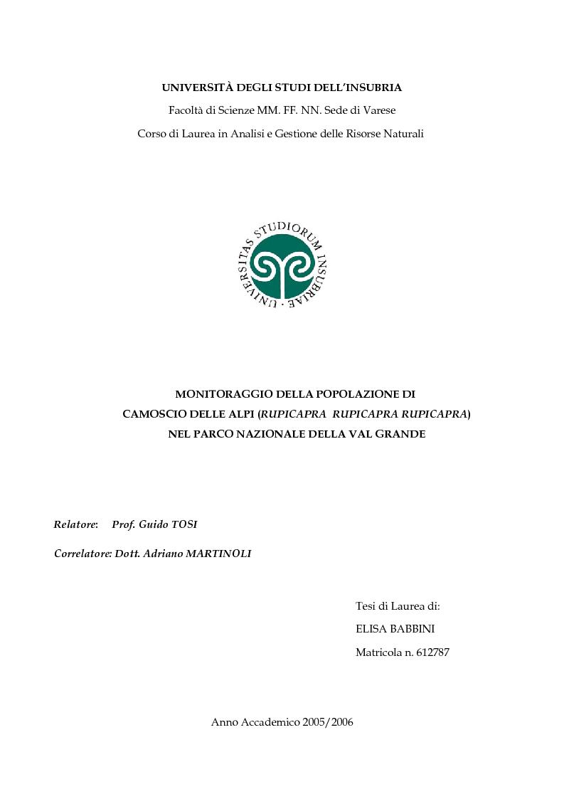 Anteprima della tesi: Monitoraggio della popolazione di Camoscio delle Alpi (Rupicapra rupicapra rupicapra) nel parco nazionale della Val Grande, Pagina 1