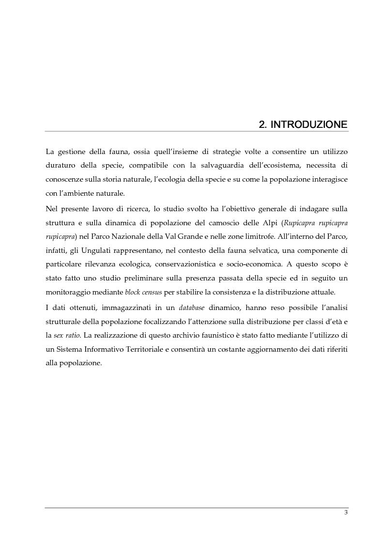 Anteprima della tesi: Monitoraggio della popolazione di Camoscio delle Alpi (Rupicapra rupicapra rupicapra) nel parco nazionale della Val Grande, Pagina 4
