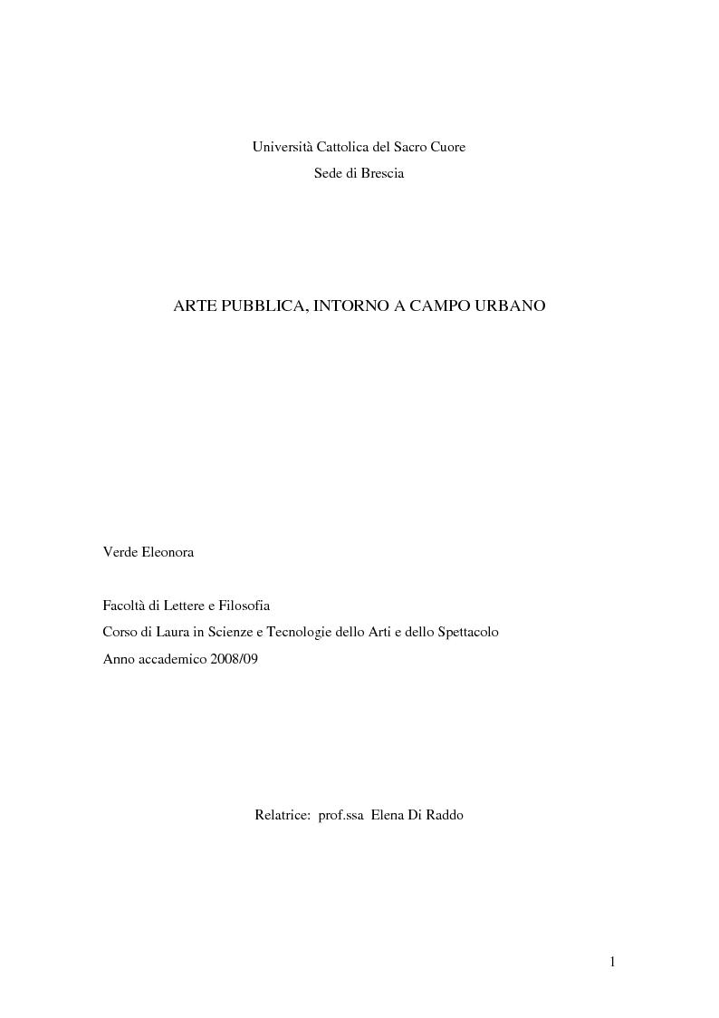 Anteprima della tesi: Arte pubblica, intorno a Campo Urbano, Pagina 1