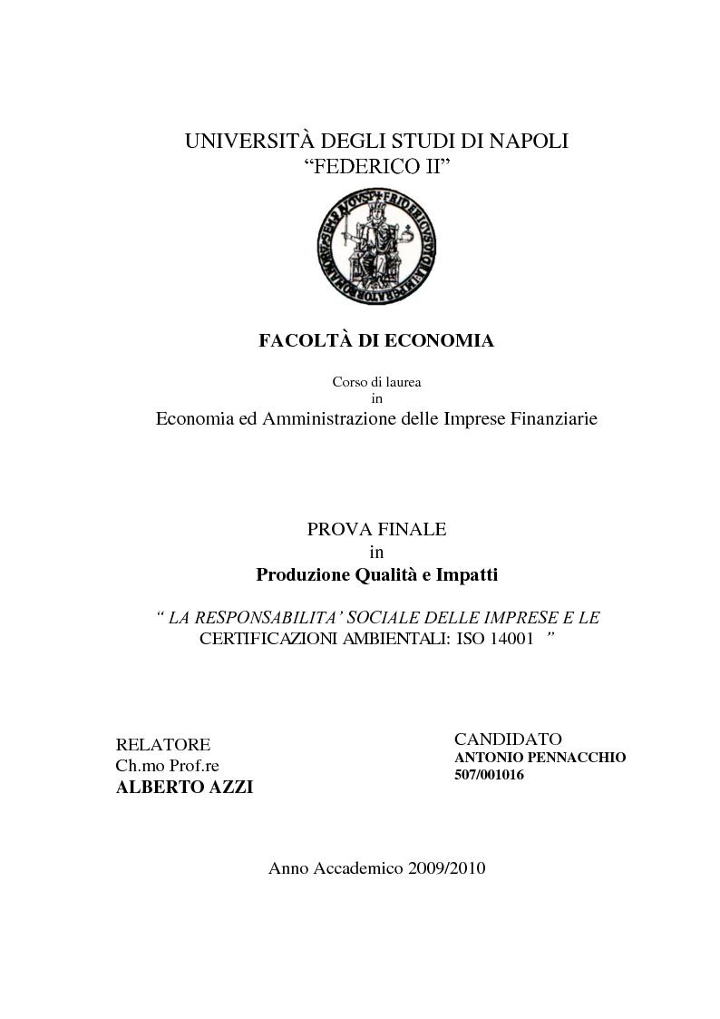 Anteprima della tesi: La Responsabilità sociale delle imprese e le certificazioni ambientali: Iso 14001, Pagina 1