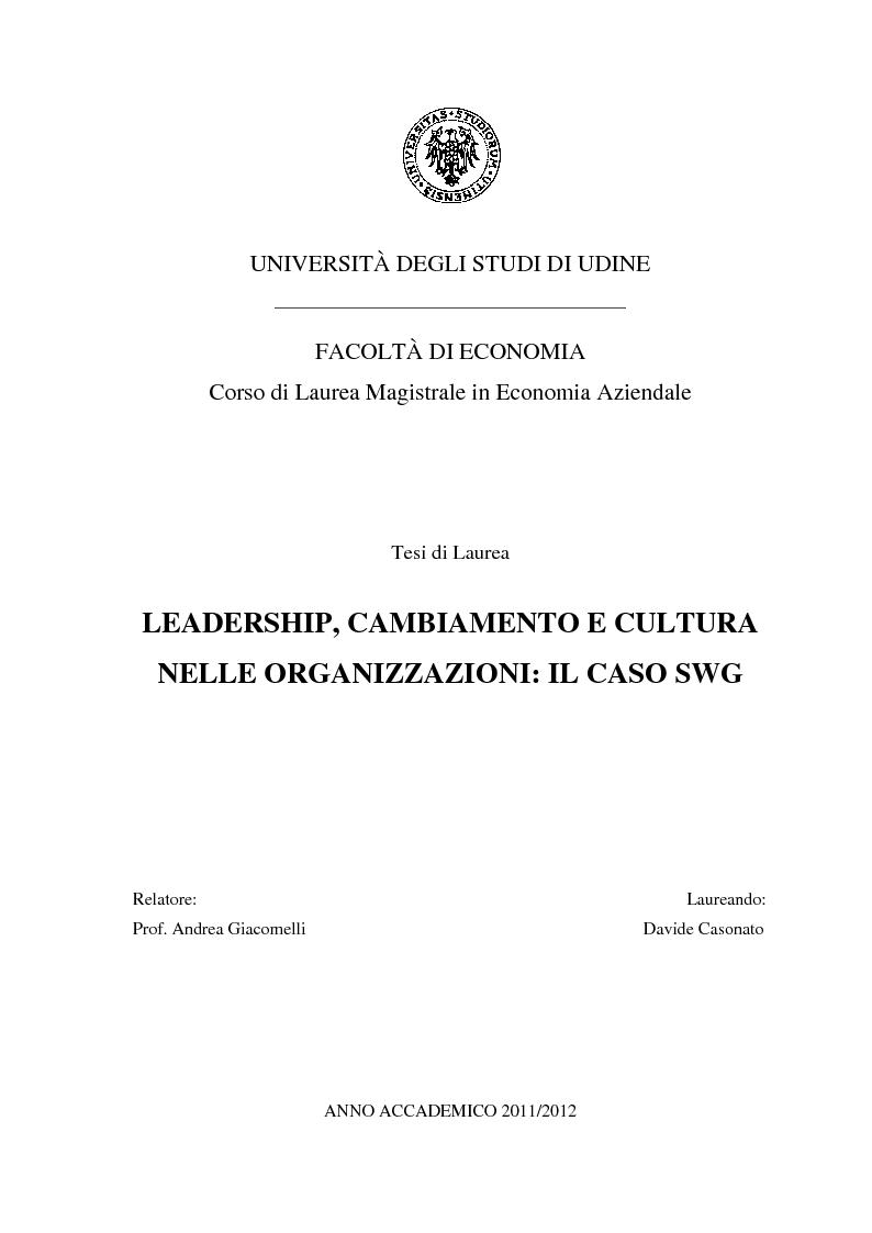 Anteprima della tesi: Leadership, cambiamento e cultura nelle organizzazioni: il caso SWG, Pagina 1