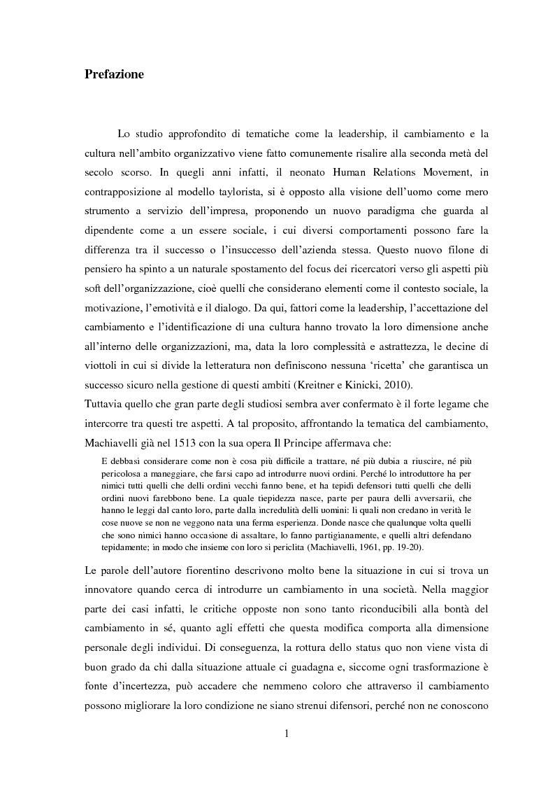Anteprima della tesi: Leadership, cambiamento e cultura nelle organizzazioni: il caso SWG, Pagina 2