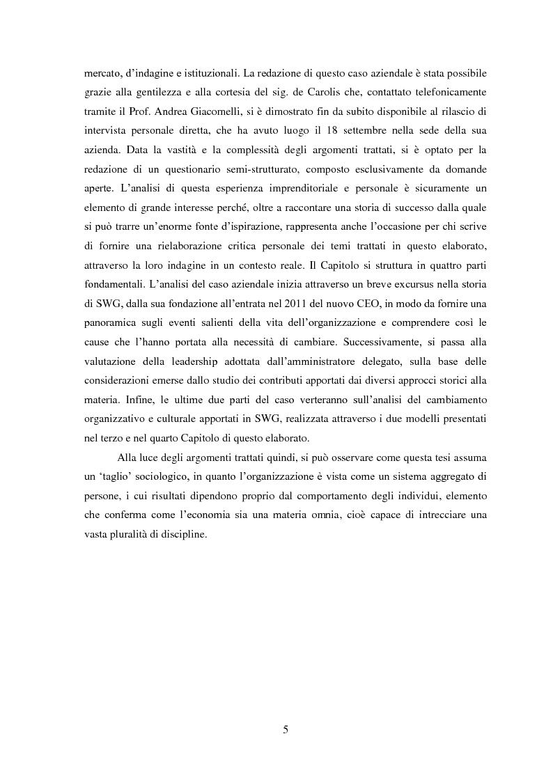 Anteprima della tesi: Leadership, cambiamento e cultura nelle organizzazioni: il caso SWG, Pagina 6