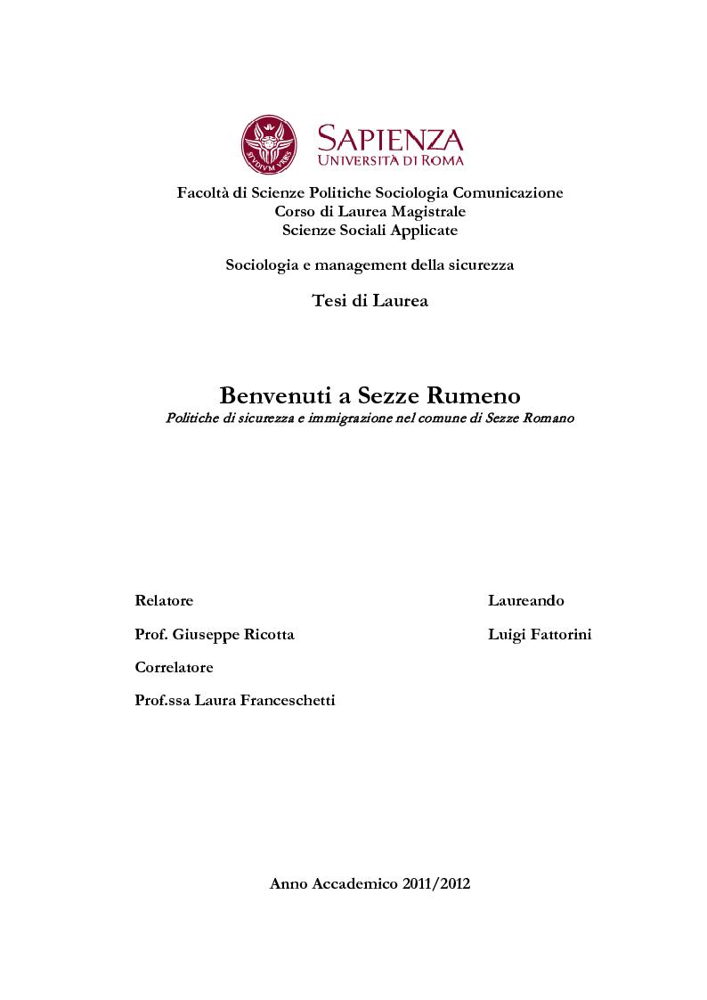 Anteprima della tesi: Benvenuti a Sezze Rumeno - Politiche di sicurezza e immigrazione nel comune di Sezze Romano, Pagina 1