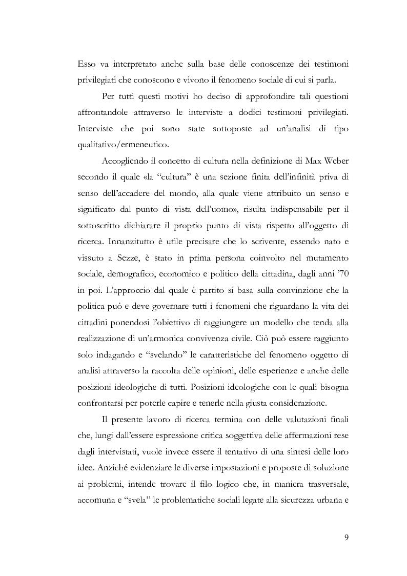 Anteprima della tesi: Benvenuti a Sezze Rumeno - Politiche di sicurezza e immigrazione nel comune di Sezze Romano, Pagina 5