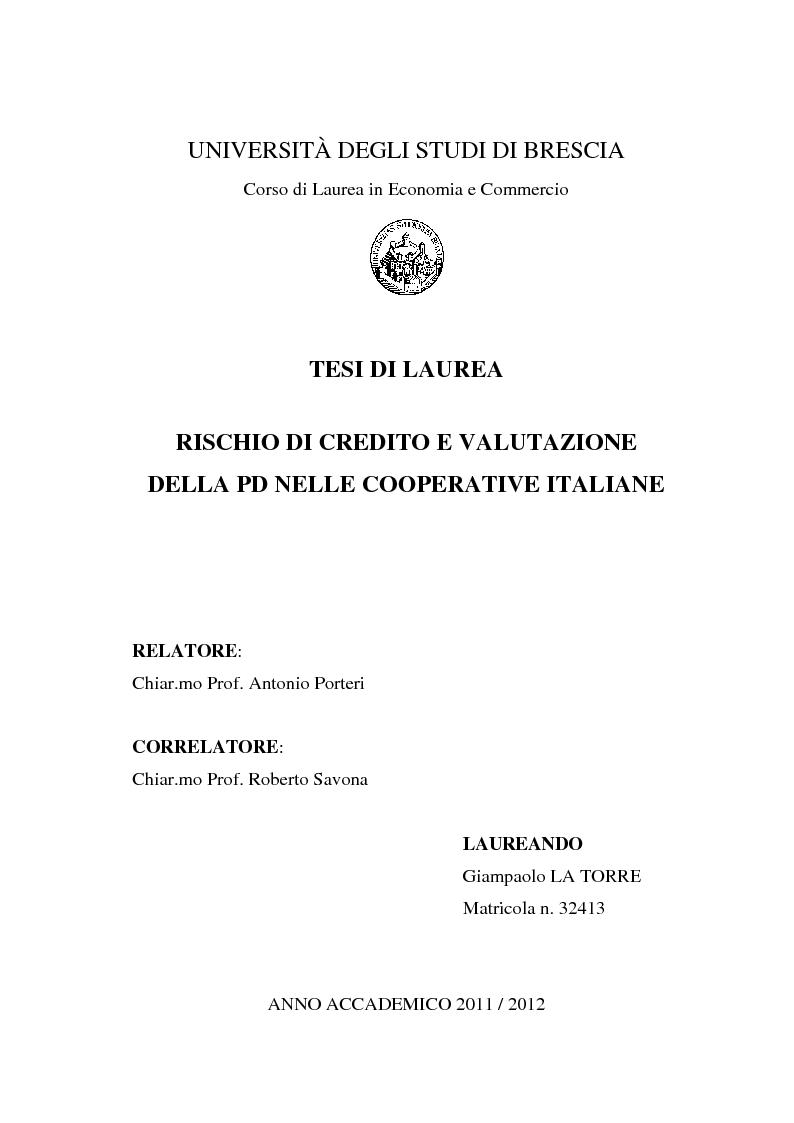 Anteprima della tesi: Rischio di Credito e Valutazione della PD nelle Cooperative Italiane, Pagina 1