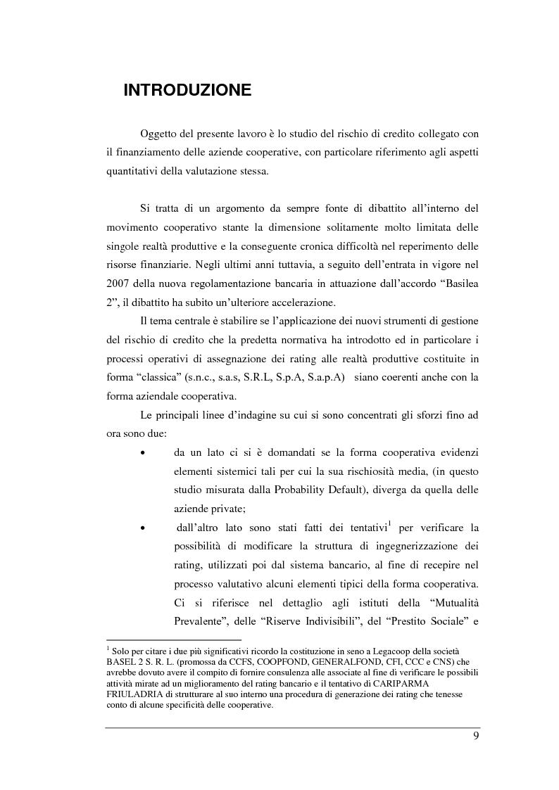 Anteprima della tesi: Rischio di Credito e Valutazione della PD nelle Cooperative Italiane, Pagina 2