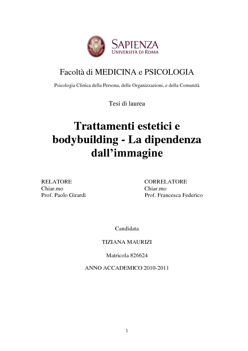 Anteprima della tesi: Trattamenti estetici e bodybuilding - La dipendenza dall'immagine, Pagina 1