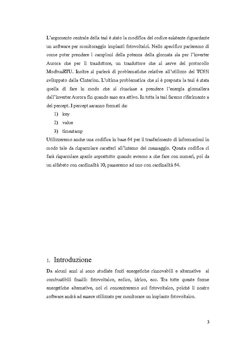 Anteprima della tesi: Tecniche di comunicazione tra dispositivi di sensistica e server centrale per impianti fotovoltaici, Pagina 2