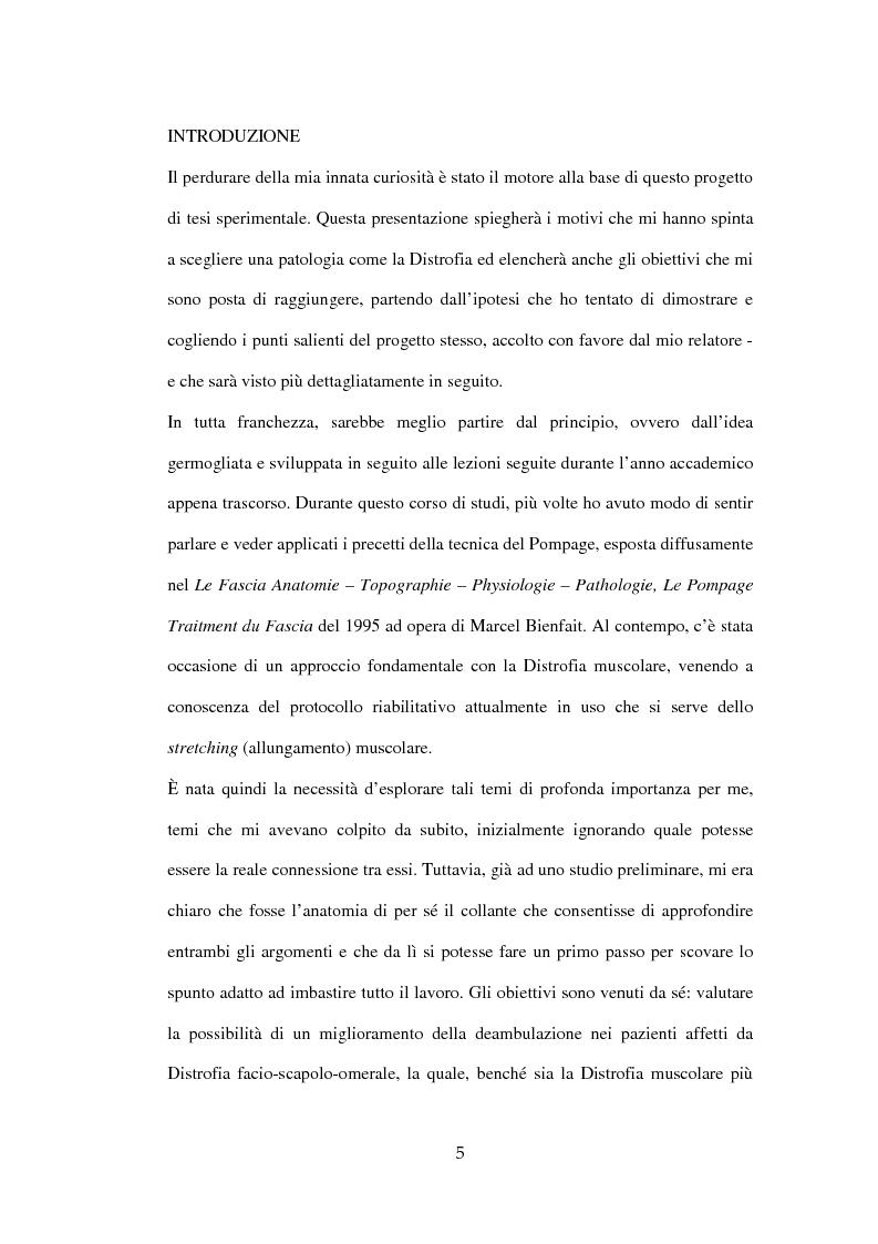 Anteprima della tesi: Efficacia del Pompage nel trattamento riabilitativo delle Distrofie Facio Scapolo Omerali, Pagina 2